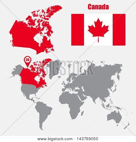 Canada map on a world map with flag and map pointer. Vector illustration