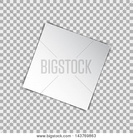 White blank square poster mockup sheet of paper on background. Vector illustration