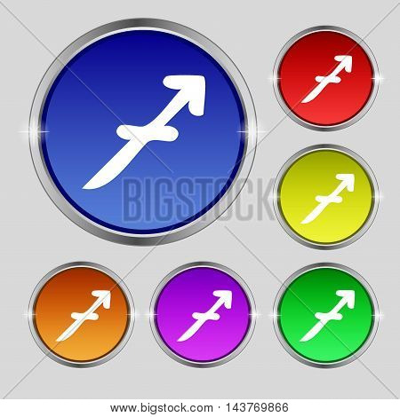Sagittarius Icon Sign. Round Symbol On Bright Colourful Buttons. Vector