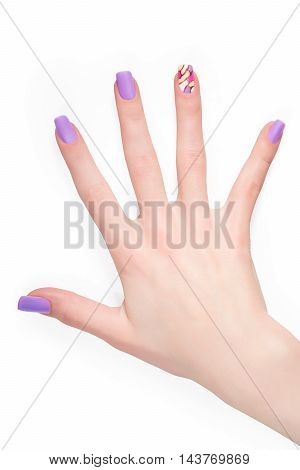 Woman hand with violet acrylic art manicure. Isolated on white with clipping path