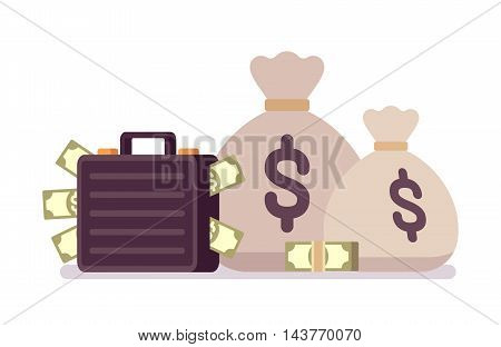 Big and small sack and case full of money. Cartoon vector flat-style illustration
