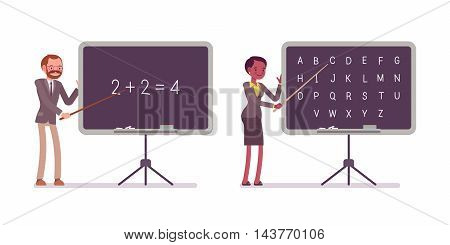 Teachers are teaching maths and alphabet on the blackboard. Cartoon vector flat-style illustration