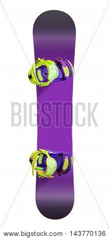 Top view of snowboard with bindings isolated on white background
