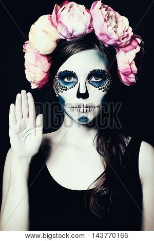Girl with Halloween Makeup. Sugar Skull Beautiful Woman