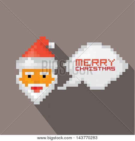 Merry Christmas pixel art style santa claus hipster poster for party or greeting card . Vector illustration