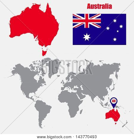 Australia map on a world map with flag and map pointer. Vector illustration