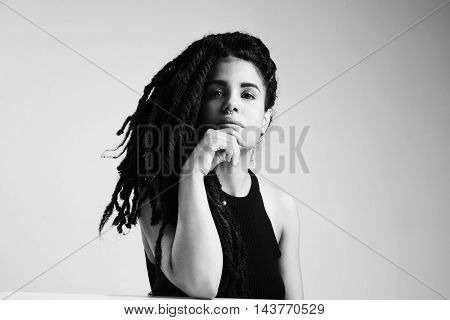 Pretty Young Woman's Dreadlook Portrait In Black And White