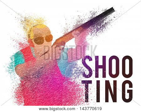 Creative illustration of Shooting Player made by colorful splash for Sports concept, Can be used as Poster, Banner or Flyer design.