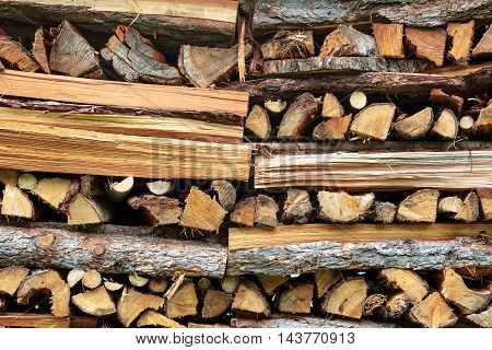 Stack of firewood chopped for heating or oven