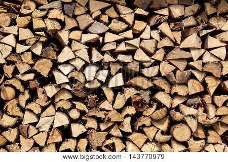 Stack of firewood chopped for winter or pizza oven