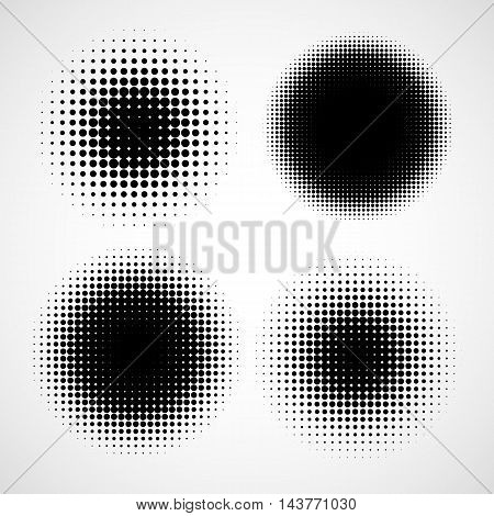 Abstract Halftone Backgrounds. Vector Set of Isolated Modern Design Element. Black and White Texture