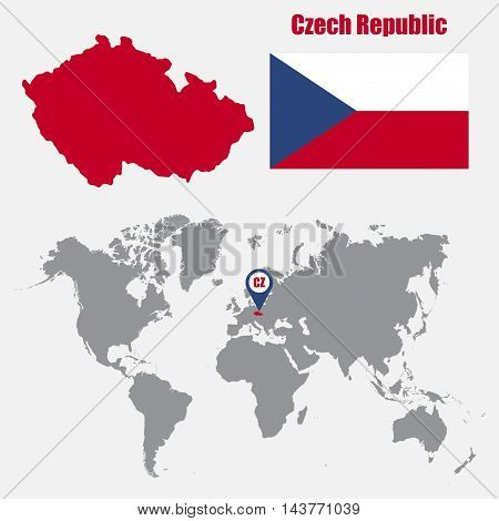 Czech Republic map on a world map with flag and map pointer. Vector illustration
