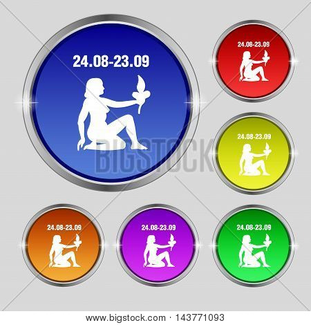 Virgo Icon Sign. Round Symbol On Bright Colourful Buttons. Vector