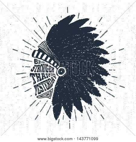 Hand drawn tribal label with textured headdress vector illustration and