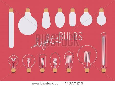 Set of retro unlit and lit light bulbs aganst crimson background. Cartoon vector flat-style illustration