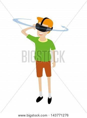 vector illustration of a man wearing a virtual reality headset device
