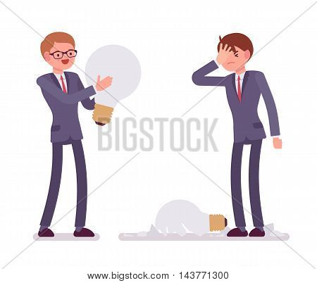 Businessmen with light bulbs, one is broken, glass fragments are around. Vector cartoon concept flat-style illustration