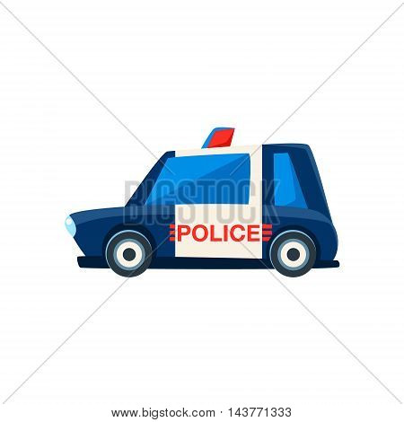 Black And White Police Toy Cute Car Icon. Flat Vector Transport Model Simple Illustration Isolated On White Background.