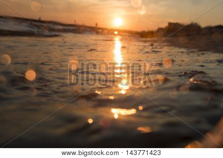 beach in sunset time, blurred photo for background