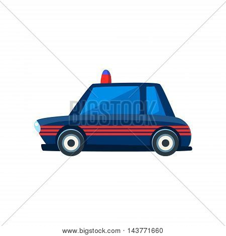Black Police Toy Cute Car Icon. Flat Vector Transport Model Simple Illustration Isolated On White Background.
