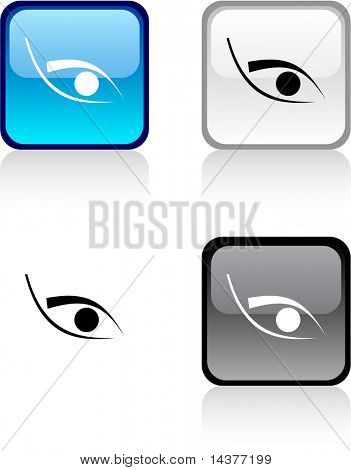 Eye glossy square vibrant buttons.