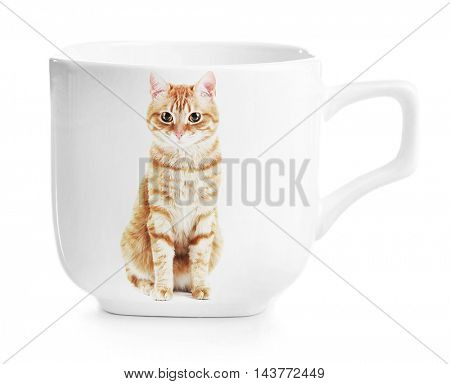 Coffee cup with photo of cute cat isolated on white