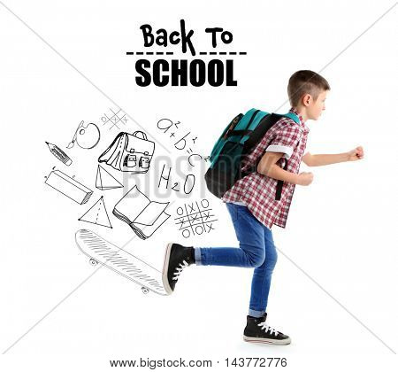 Running little boy with back pack and pictures of school theme isolated on white