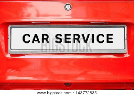 CAR SERVICE. Closeup license plate at the car
