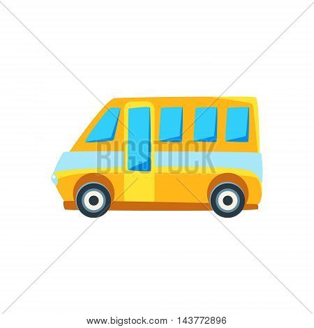 Yellow Mini Van Toy Cute Car Icon. Flat Vector Transport Model Simple Illustration Isolated On White Background.