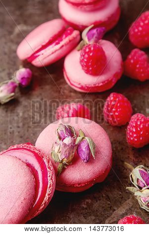 Traditional French Sweets. Macaroon With Raspberries On A Metal