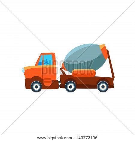 Concrete Mixer Toy Cute Car Icon. Flat Vector Transport Model Simple Illustration Isolated On White Background.