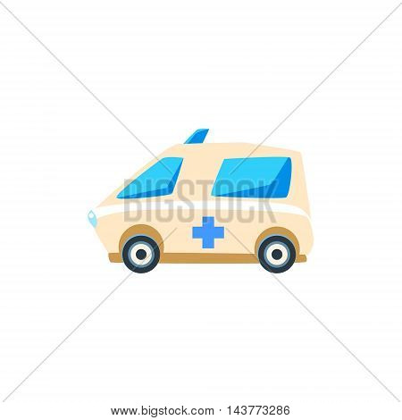 White Ambulance Toy Cute Car Icon. Flat Vector Transport Model Simple Illustration Isolated On White Background.