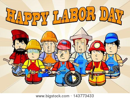 Labor Day background. Card Happy Labor Day. Illustration in a cartoon style. Representatives of various blue-collar occupations. Fully editable vector.