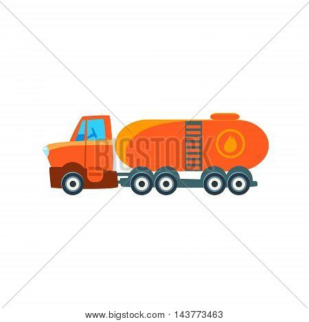 Gas Truck Toy Cute Car Icon. Flat Vector Transport Model Simple Illustration Isolated On White Background.