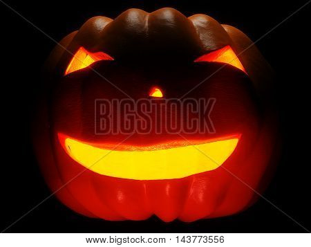Helloween Pumpkin illuminated on black background. 3d render