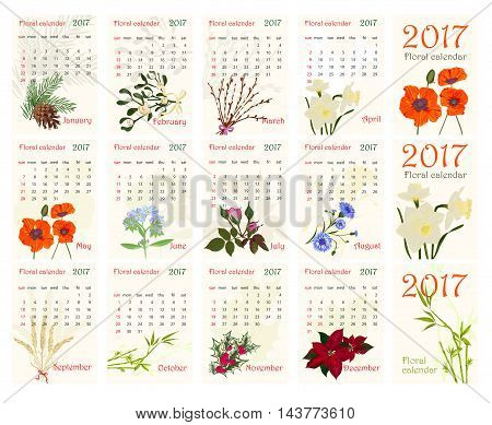 2017 Romantic floral calendar with realistic beautiful flowers. Vector illustration