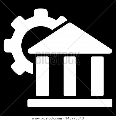 Bank Settings icon. Vector style is flat iconic symbol with rounded angles, white color, black background.