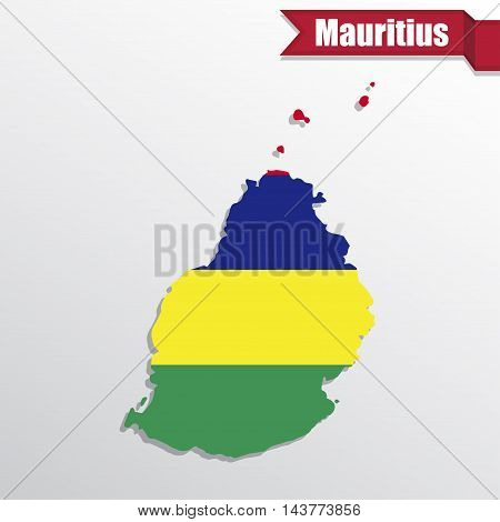 Mauritius map with flag inside and ribbon