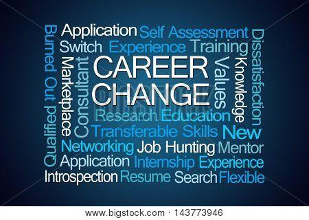 Career Change Word Cloud on Blue Background