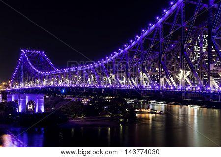 BRISBANE, AUSTRALIA: Story Bridge by Night - purple lights