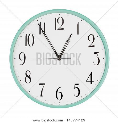 Round office clock shows five minutes to an hour