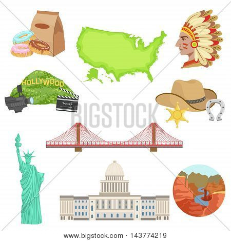USA National Symbols Set Of Items. Isolated Objects Representing United States Of America On White Background