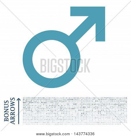Male Symbol icon with 1200 bonus arrow and direction pictograms. Vector illustration style is flat iconic bicolor symbols, cyan and blue colors, white background.