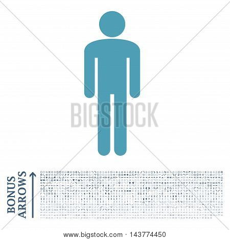 Man icon with 1200 bonus arrow and navigation pictograms. Vector illustration style is flat iconic bicolor symbols, cyan and blue colors, white background.