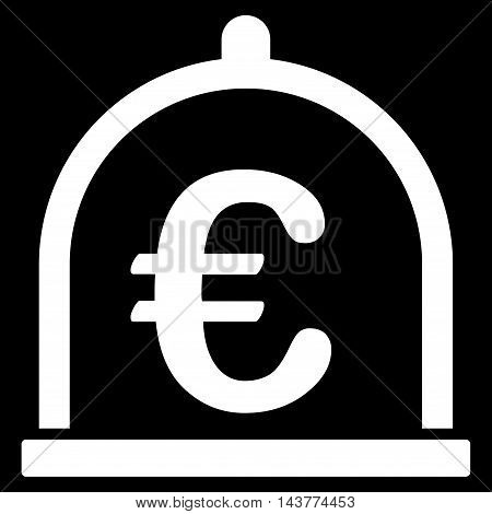 Euro Storage icon. Vector style is flat iconic symbol with rounded angles, white color, black background.