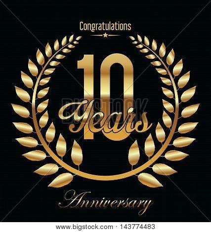 Anniversary golden Laurel wreath on black background vector illustration 10 years