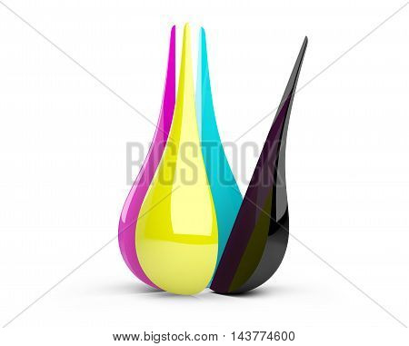 CMYK concept with divided glosy drop of ink or paint toner. 3d rendering high resolution.