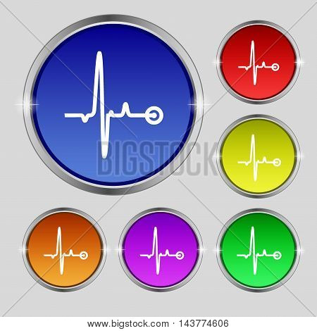 Heartbeat Icon Sign. Round Symbol On Bright Colourful Buttons. Vector
