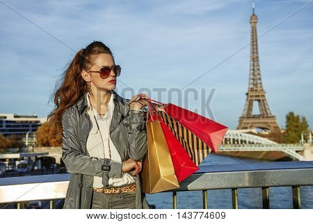 Fashion-monger With Shopping Bags Looking Aside. Paris, France