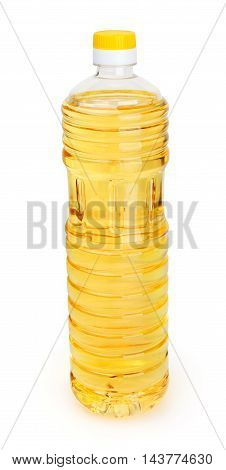 Sunflower oil in bottle isolated on white background with clipping path